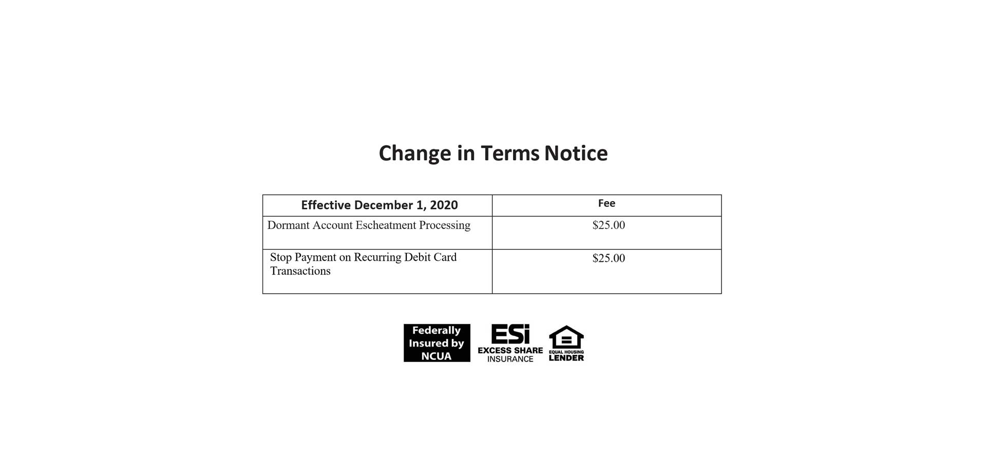 Change in Terms Notice
